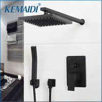 KEMAIDI Bathroom Rainfall shower faucet Luxury Black Wall Mounted Sets 8/10/12 inch Black Finished Head & Hand Shower Sets