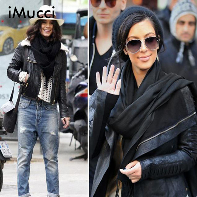 iMucci Women Winter Warm Cotton Scarf 190*65CM Solid Faux Cashmere Warp Shwal Fashion Winter Autumn Men Pashmina Scarves