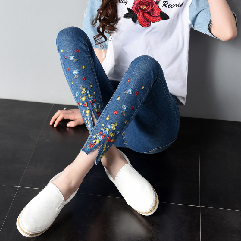 2018New Embroidery   Jeans   Female Summer Style Fashion Embroidery Was Thin Stretch Ankle-Length Pants Elasticity Small   Jeans   Women