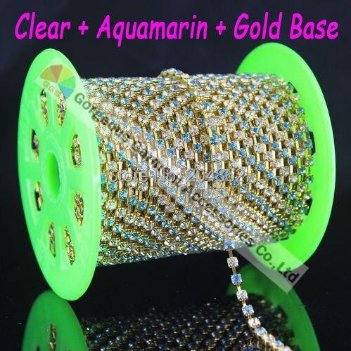 10Y 4mm Aquamarin Alternated Ordinary Czech Clear crystal rhinestone cup chain Gold Silver Set DIY browband wedding accessories