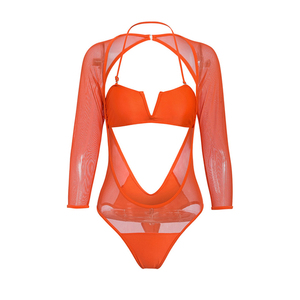 Image 4 - Plus size bikinis 2019 Mujer Mesh monokini V neck one piece swimsuit female Long sleeve bodysuits High cut swimwear women Halter