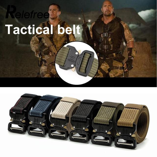Men Women Nylon Webbing Training Belt Combat Tactical Belt Outside Waist Straps