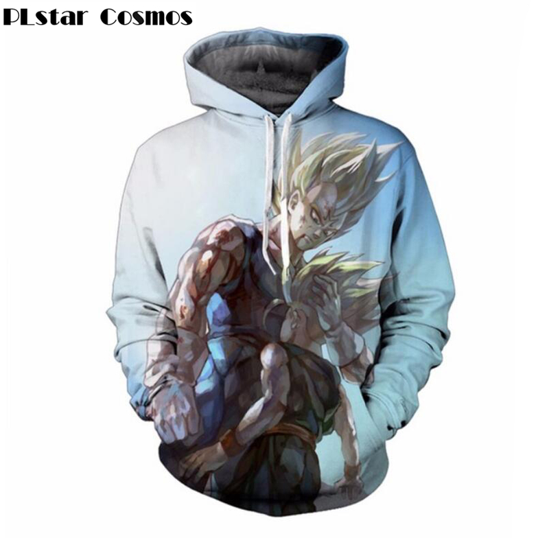 PLstar Cosmos 2018 Newest Anime Dragon Ball Z Super Saiyan Hoodies Men Women Long Sleeve Outerwear Pocket Hooded Sweatshirts