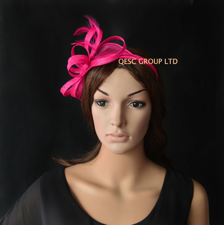 Ярко-Розовый Фуксия небольшой синамей украшение с перьями для свадьбы, Кентукки Дерби