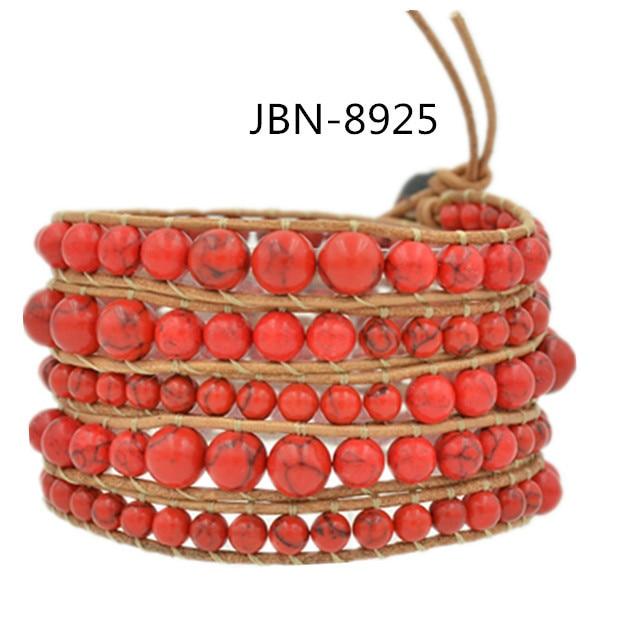 Bracelet men  HOT SALL style Leather Bracelet Natural red turquoise handmade bracelets & bangles  charming Jewelry JBN-8925