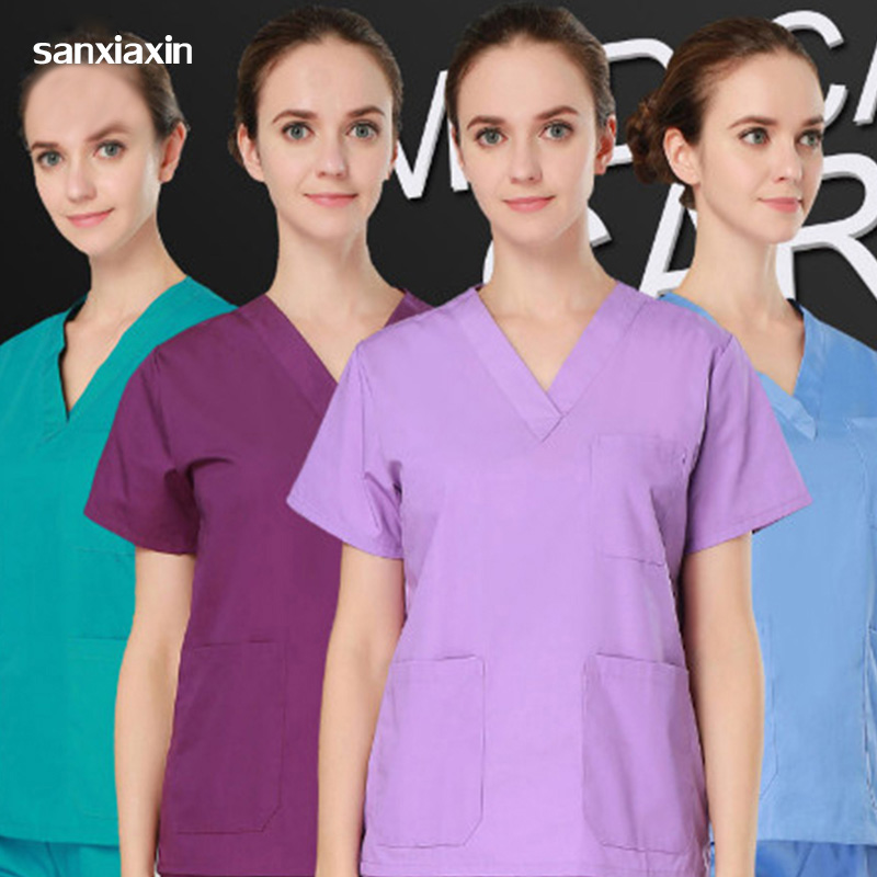 Hospital Clothes Surgical Scrub Sets  Plus Size High Quality Women's V Neck Medical SetS Summer Men Short Sleeve Nurse Uniform