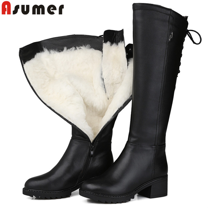 ASUMER black fashion winter snow boots round toe keep waem knee high boots zip shearling comfortable pu+cow leather boots women