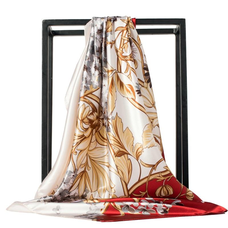 Women Scarf Luxury Leopard Print Pure Silk Feeling Shawl Scarfs Foulard Square Heads Scarves Wraps