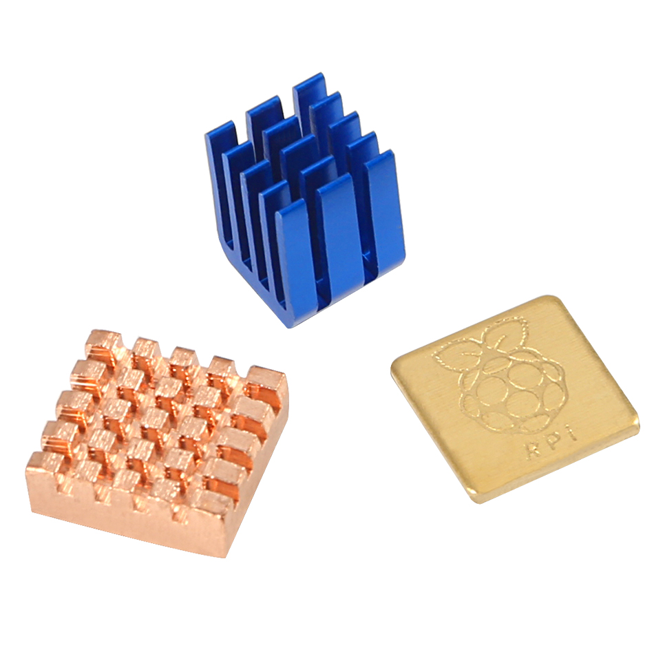 <font><b>1</b></font> Aluminum+<font><b>2</b></font> Copper Heat Sinks Cooling Sitcky Pad For Raspberry Pi <font><b>2</b></font> 3 Model image