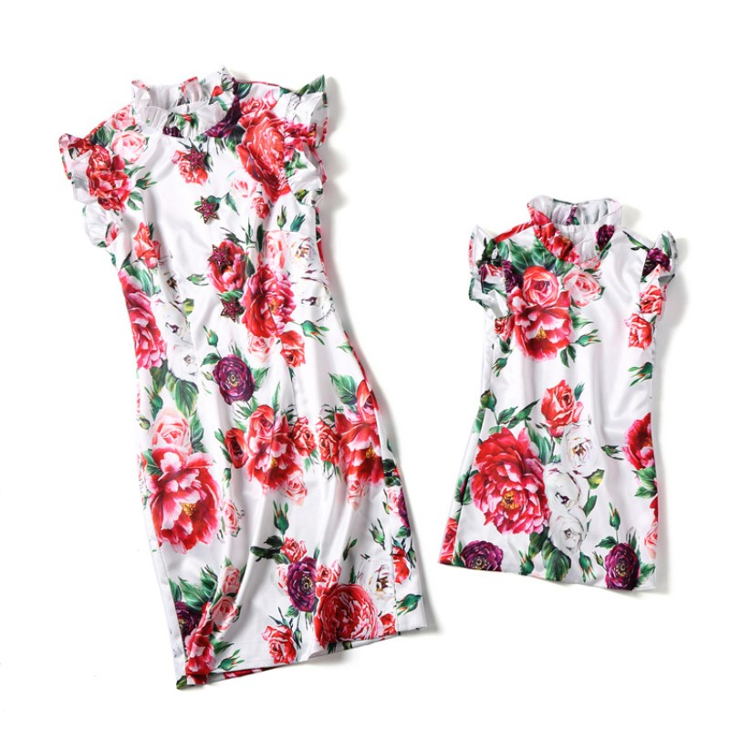 Mother Daughter Dresses Floral Vintage Chinese Traditional Fashion Cheongsam Mom and Daughter Dress Family Matching Outfits Set цена 2017