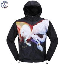 2017 Mr.1991INC 3D Jacket For Men Autumn Winter Fashion Cap Windbreaker Jacket Thin 3D Printed Flying White Horse Hooded Jakcet