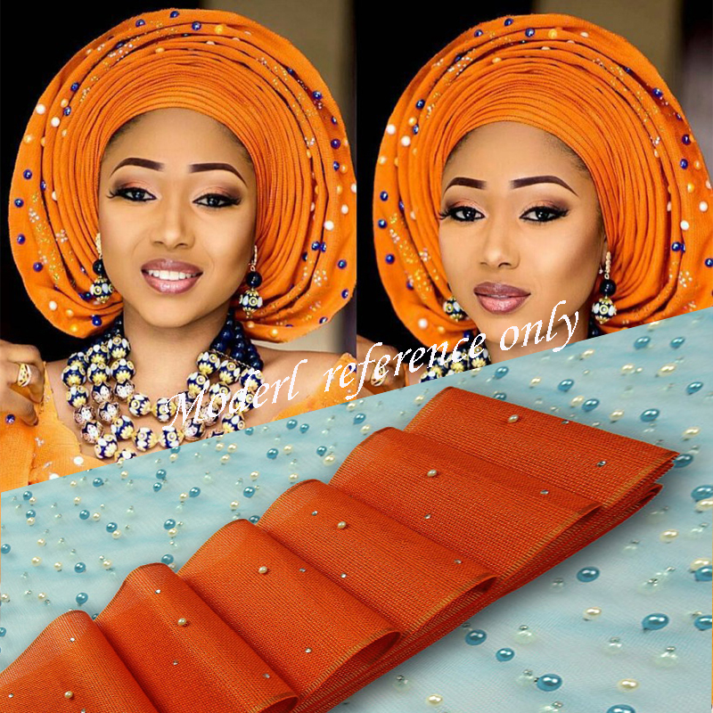 AS09African aso oke headtie 13colors length17.2m aso oke headtie beads and stones headtie African scraf wrapper Aso Ebi hot sale
