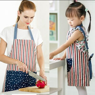 Stripe Bib Apron Thick cotton with 2 Pockets Mother and Daughter Kitchen Baking Mats Women Painting