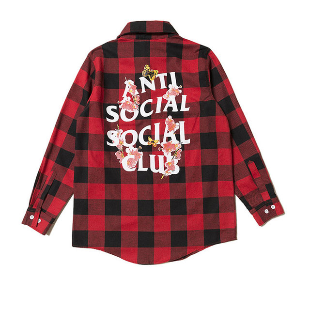 sneakers for cheap ddb19 5e917 ASSC anti social social club black and red cherry blossoms Flannel Plaid  shirts