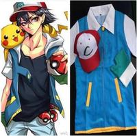 Adult Japanese Anime Pokemon Cosplay Costume Clothing Ash Ketchum Hat Cap T Shirt Gloves Halloween Costumes For Women Man