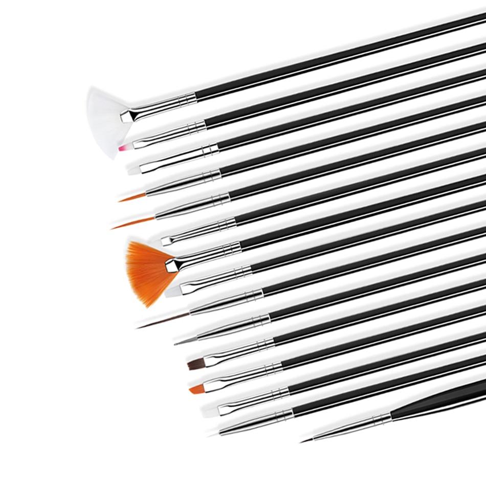 ROHWXY кисть для маникюра гель лака кисти для нейл-арта 15 шт в наобре кисточки для гель лака рисования для маникюра инструменты