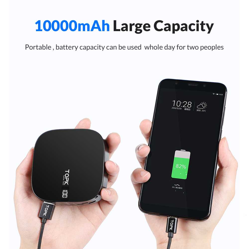 TOPK 10000mAh Power Bank Dual USB Mini Portable Mobile Phone External Battery Powerbank for iPhone Samsung Xiaomi in Power Bank from Cellphones Telecommunications