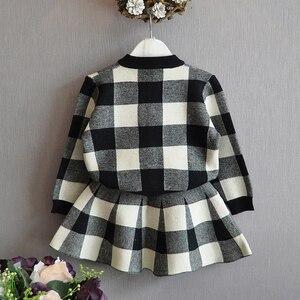 Image 3 - הומור דוב סתיו 2019 חדש בנות בגדים סטי מזדמן ארוך שרוול משובץ מעילי + מערכונים 2Pcs חליפות לילדים סט