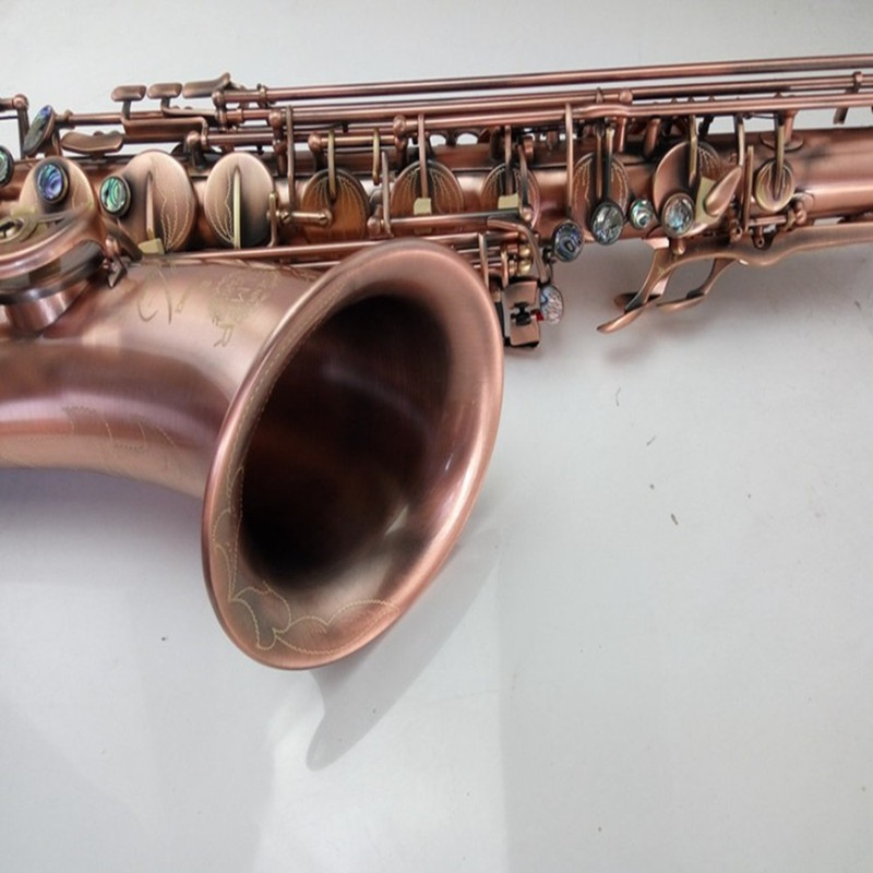 Antique Copper Simulation Tenor Saxophone Instruments 54 Drop B Saxophone Tenor Surface Red Bronze Sax Musical Instrument france henri selmer bb tenor saxophone instruments reference 36 drop b saxophone surface gold lacquer pink body professional sax