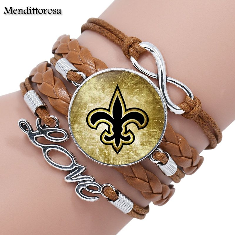 Mendittorosa Symbol of New Orleans Glass Cabochon Multilayer Black/Brown Leather Bracelet Bangle Jewelry image