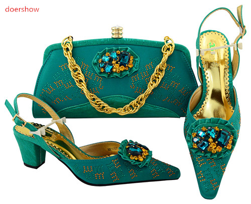 doershow Italian Shoes with Matching Bags teal African Shoe and Bag Set Italian Design African Shoes and Bag Set for ladyHVP1-20 doershow latest african matching shoes and bag set beautiful design european ladies slipper and bags sets free shipping sgf1 45