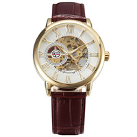 2016 Top Luxury Fashion Gold Case Hollow Engraving Skeleton Brown Leather Strap Business Men Dress Mechanical