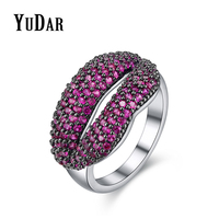 YUDAR Red Lip Design Red Corudum Cubic Zirconia Two Tone Party Rings Best Gifts Rings Bridal