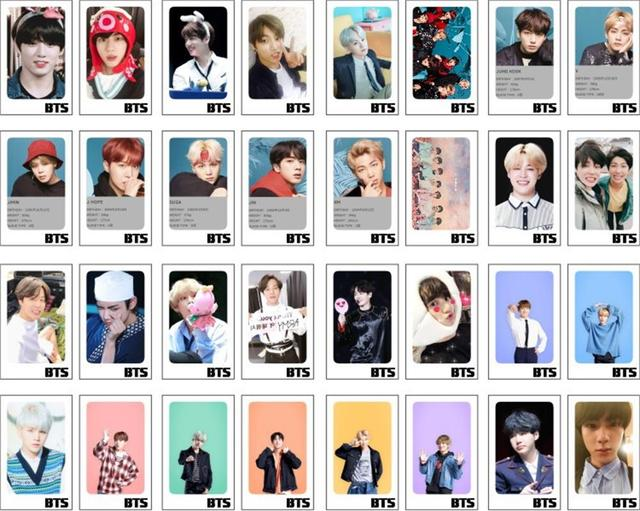 US $3 29 |Kpop BTS New Fahion Paper Lomo Photo Cards Bangtan Boys Suga  Jimin Polaroid Photocard with Wood Clips 32pcs-in Jewelry Findings &  Components