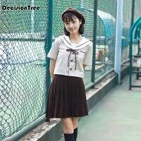 2019 skirts high waist pleated skirts jk students solid pleated cute girls cosplay japanese school uniforms tennis skirt