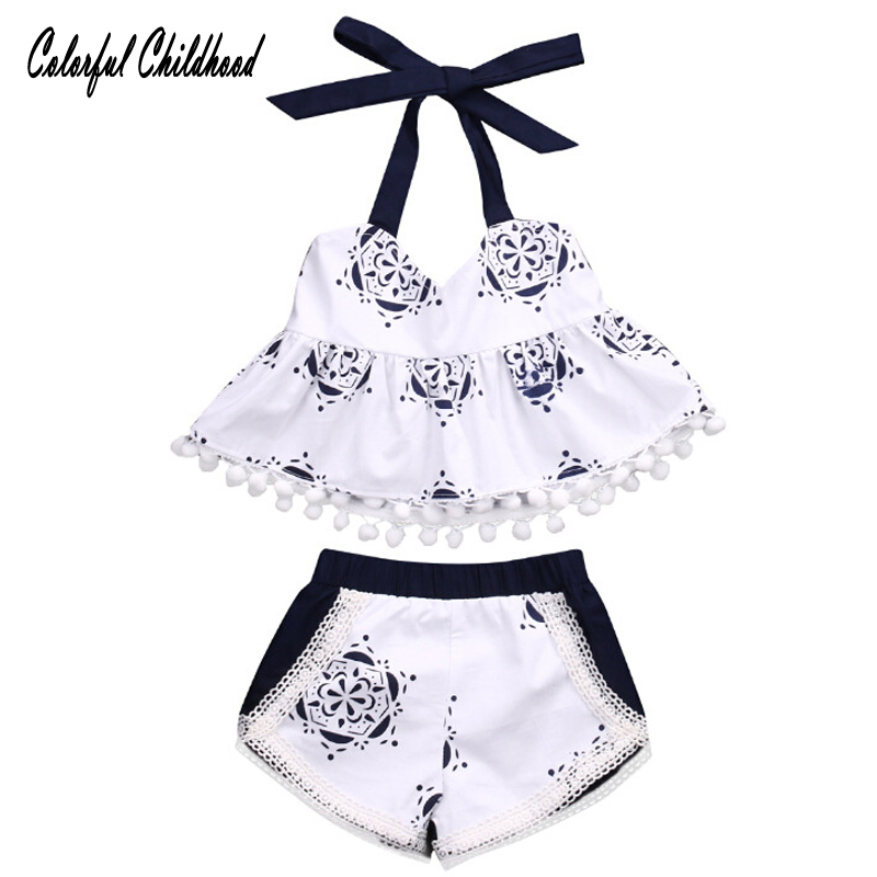 Summer Style Baby Swing Top Baby Girls Clothing Set Infant Flower tassel Outfits Newborn Girl Clothes Sets