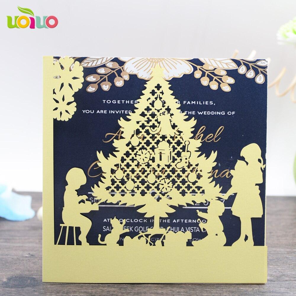 43 59 Bonito Corte Láser 3d Tarjetas De Felicitación De Navidad Oro Diseños Festival Tarjetas De Invitación Para Incluso Y La Decoración Del