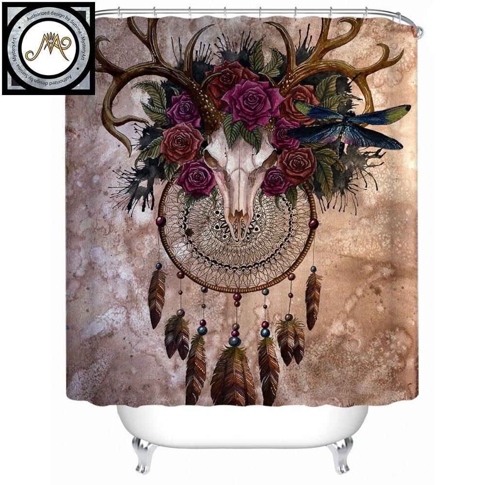 Mystery Skull Dreamcatcher by Sunima-MysteryArt Shower Curtain Roses Waterproof Bath Curtain Polyester Bathroom Decor With Hooks