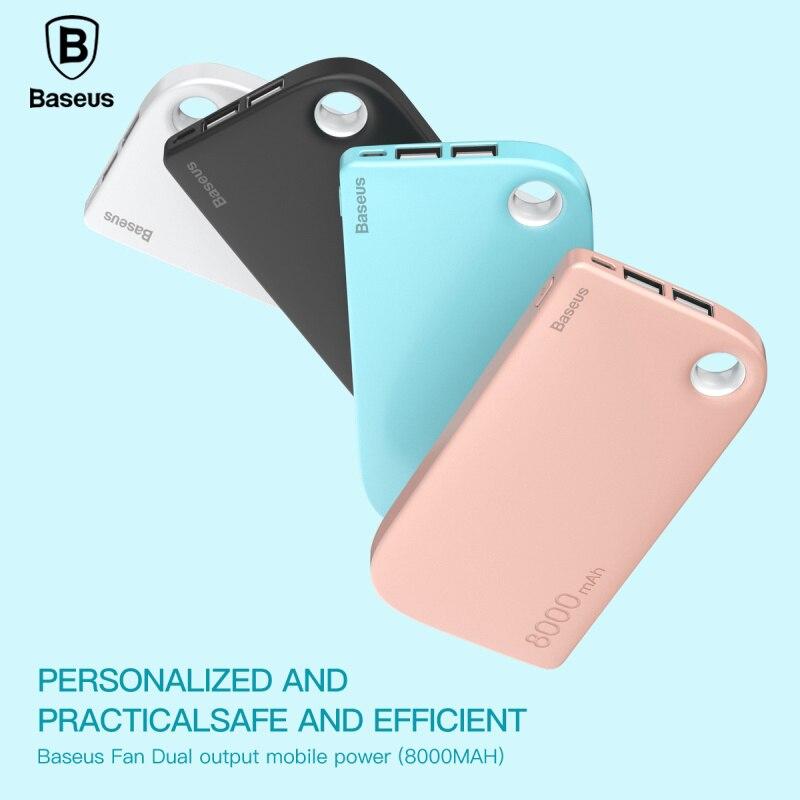 Цена за Baseus 8000 мАч Power Bank Двойной Выход USB быстрой Зарядки Portable Внешняя Батарея Зарядки Для iphone 7 samsung S8 huawei xiaomi