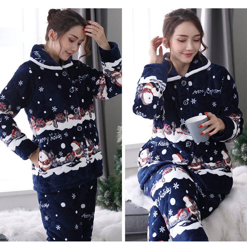 Christmas Pyjamas Women Winter/Autumn Pajamas Set Long Coat Pant  Flannel Loose Size Sexy Home Warm 2019 Sleepwear 2Piece/Set