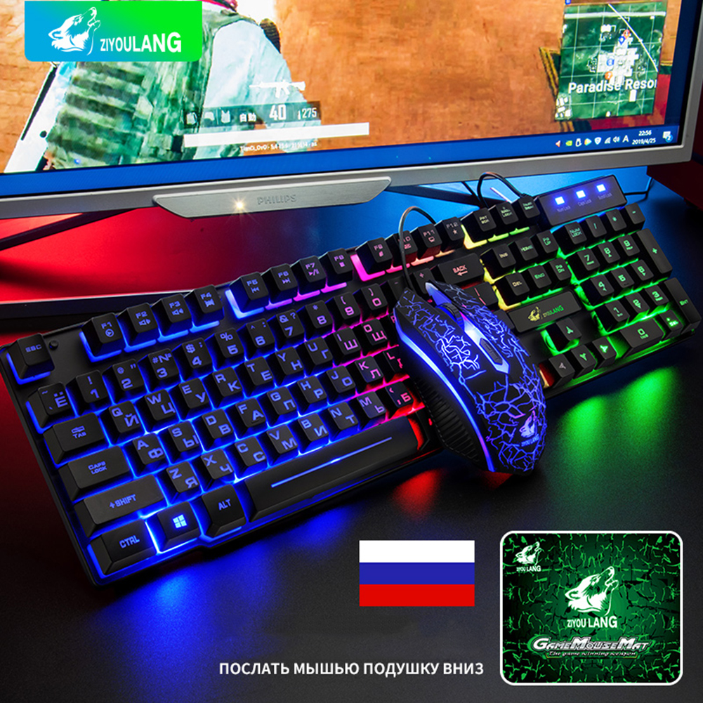 Gaming Keyboard and Mouse Set Wired Waterproof RGB Backlight Mechanical Game Keyboards with Mouse Kit Support Russian/English image