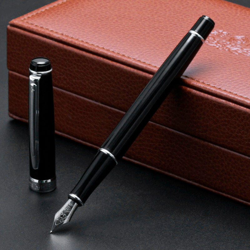 1PC HERO Silver Clip Black Fountain Pen High-end Business Gift Ink Pens with Luxury Gift Box Office Supplies настенные часы русалочка