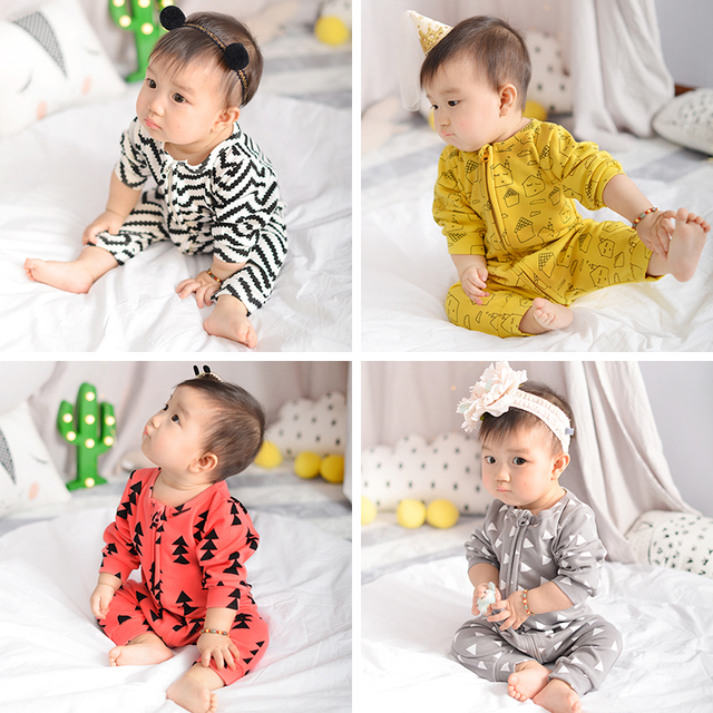 Baby boy clothes geometry pattern long sleeve baby rompers newborn cotton baby girl clothing jumpsuit infant clothing 4 Colour