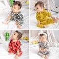 Bebé ropa de niño patrón de la geometría de manga larga mamelucos del bebé de algodón recién nacido bebé mono de la ropa infantil ropa 4 Color