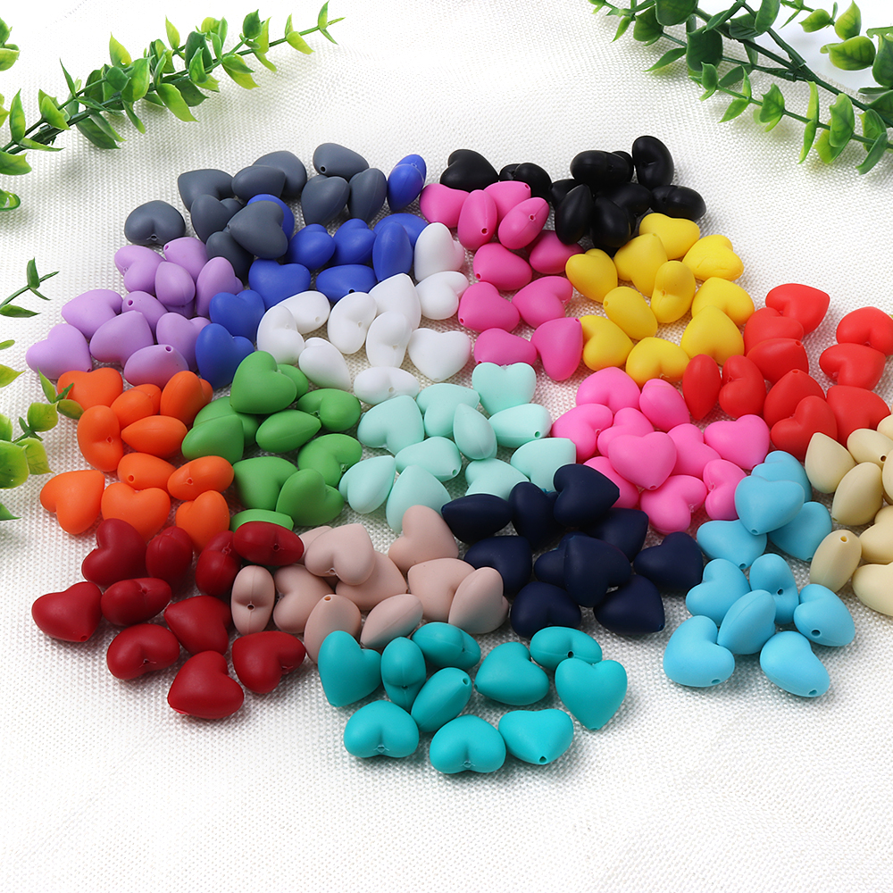 TYRY.HU 20pcs/lot Heart Silicone Beads Baby Teether Silicone Teething Beads For Necklace Silicone Teether 20pcs lot 17 18g 17 33 to252