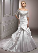 A-93 Elegant Strapless Lace With sleeve A-line Taffeta Wedding Dress
