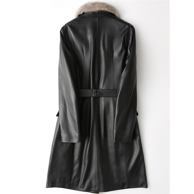 Fourrure Black Long Peau De Zt533 Vison Bas Vêtements Vers Mouton Manteau Slim Cuir Femmes Veste Collor En Le D'hiver Coréenne Véritable q1BRwxO