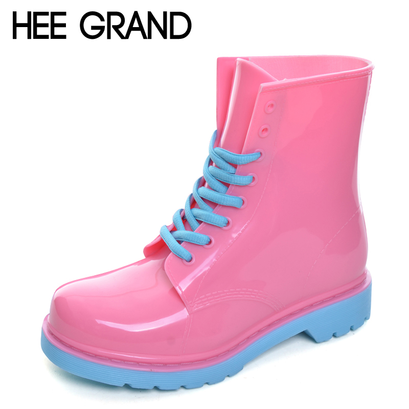HEE GRAND 2017 Rain Boots Candy Colors Platform Women Ankle Boots Lace-Up Casual Shoes Woman Pink Flats Shoes XWX4145 new women canvas shoes casual lace up cute spring candy colors ladies flats white shoes woman free shipping