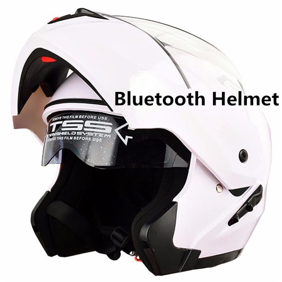 ZhangHai Casco de Moto Bluetooth Integrado Flip Up Casco Moto Integral Modular Casco Certificaci/ón ECE con Doble Visera Casco Motocross para Hombre Y Mujer Adulto Motocicleta Casco Scooter