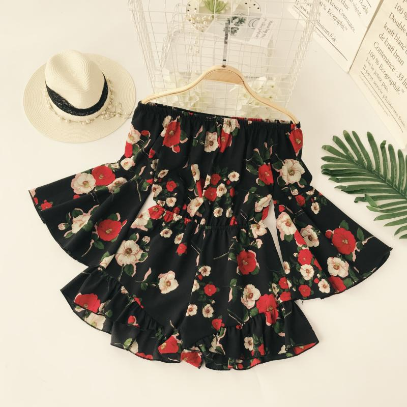 Women Chiffon Playsuit Loose Backless Floral Print High-Waist Slash Neck Rompers Shorts 2018 Summer Vacation Beach Jumpsuits