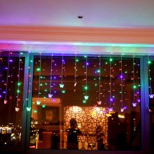 JUNJUE Colorful Double Love Butterfly Pendant LED Light Flashing Lights Lantern Star Curtains Bedroom Decorations Gift