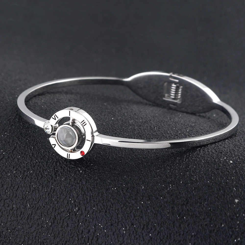 Rjhot moda 100 idioma te amo brazaletes amantes románticos pulseras de memoria King Queen Lady hombres Pulseiras Día de San Valentín regalo