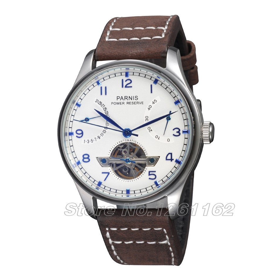 43mm Parnis Watch Power Reserve Wristwatches White Dial Blue Numbers Automatic Men's Watch PA4305SWB  casual 43mm parnis automatic power reserve white dial blue numbers silver watch case business watch men