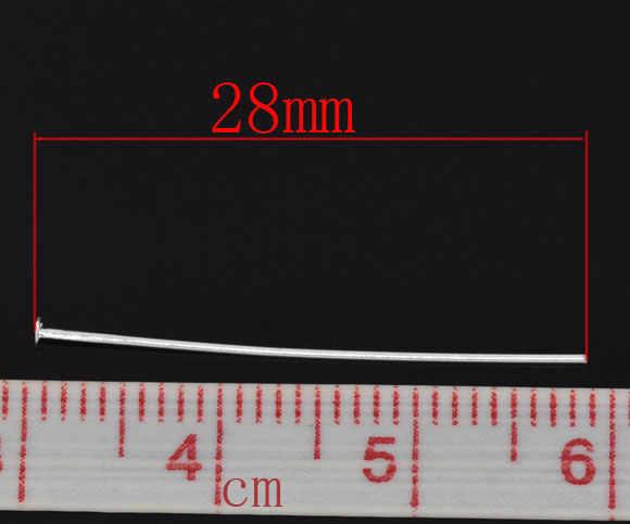 "Doreenbeads Kepala Tembaga Pin Berlapis Perak 28 Mm (1 1/8 "") Panjang 0.5 MM (Gauge) 90 Pcs"