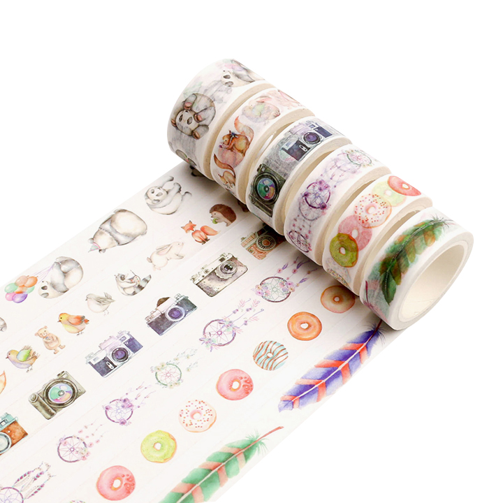 Office Adhesive Tape 1 Roll/set Vintage Washi Tape Panda Feather Bottle Decorative Tape For Diy Album Diary Planner Bullet Journal Masking Tape 8m With Traditional Methods