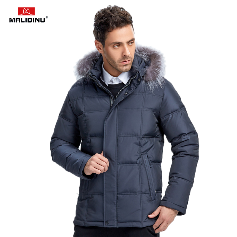 MALIDINU 2018 New Men   Down   Jacket Brand 70% White Duck   Down   Winter Jackets Mens   Down     Coat   Parka Fox Fur Collar Free Shipping